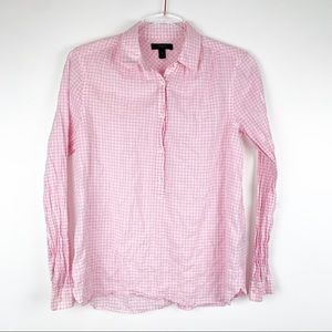 J. Crew Gathered Popover Shirt in Pink Gingham 2